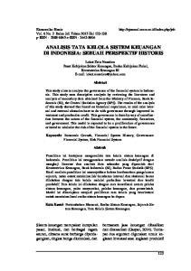 ANALISIS TATA KELOLA SISTEM KEUANGAN DI INDONESIA: SEBUAH PERSPEKTIF HISTORIS