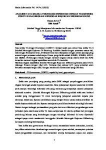 ANALISIS TATA KELOLA TEKNOLOGI INFORMASI DENGAN FRAMEWORK COBIT 5 PADA SEKOLAH MENENGAH KEJURUAN NEGERI BANDUNG. Hasan As ari 1) Rini Astuti 2)