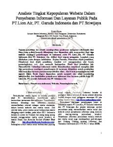Analisis Tingkat Kepopuleran Website Dalam Penyebaran Informasi Dan Layanan Publik Pada PT.Lion Air, PT. Garuda Indonesia dan PT