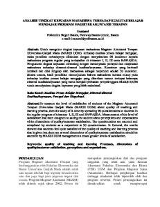 ANALISIS TINGKAT KEPUASAN MAHASISWA TERHADAP KUALITAS BELAJAR MENGAJAR PROGRAM MAGISTER AKUNTANSI TERAPAN