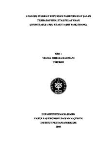 ANALISIS TINGKAT KEPUASAN PASIEN RAWAT JALAN TERHADAP KUALITAS PELAYANAN (STUDI KASUS : RSU BHAKTI ASIH TANGERANG)