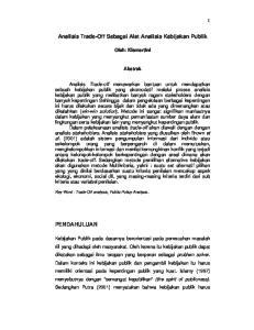 Analisis Trade-Off Sebagai Alat Analisis Kebijakan Publik