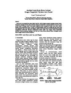 Analisis Unjuk Kerja Motor Induksi Dengan Pengendali Thyristor Anti-Paralel