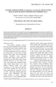 ANALISIS VARIASI GENETIK Saccharomyces cerevisiae Dl TAHAN ETANOL DENGAN RAPD (RANDOM AMPLIFIED POLYMORPHIC DNA)*
