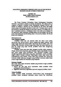 ANALITICAL HIERARCHY PROCESS (AHP) DALAM MELAKUKAN SELEKSI LOKASI DI PERUM PERUMNAS. BAHRIL D.S Senior Auditor Perum Perumnas