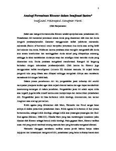 Analogi Permainan Ricoeur dalam Imajinasi Sastra* Imajinasi Melampaui Sangkar Moral