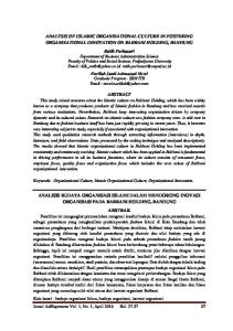 ANALYSIS OF ISLAMIC ORGANIZATIONAL CULTURE IN FOSTERING ORGANIZATIONAL INNOVATION ON RABBANI HOLDING, BANDUNG