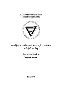 Analýza a hodnocení webových stránek veřejné správy