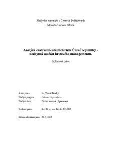 Analýza environmentálních rizik České republiky - nezbytná součást krizového managementu