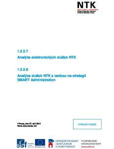 Analýza služeb NTK s vazbou na strategii SMART Administration