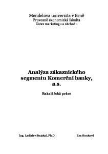 Analýza zákaznického segmentu Komerční banky, a.s