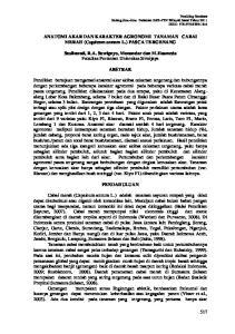 ANATOMI AKAR DAN KARAKTER AGRONOMI TANAMAN CABAI MERAH (Capsicum annum L.) PASCA TERGENANG