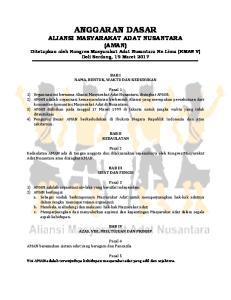 ANGGARAN DASAR ALIANSI MASYARAKAT ADAT NUSANTARA (AMAN) Ditetapkan oleh Kongres Masyarakat Adat Nusantara Ke-Lima (KMAN V) Deli Serdang, 19 Maret 2017