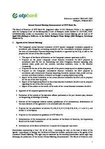 Annual General Meeting Announcement of OTP Bank Plc - PDF Free Download 53c8574319