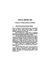 ANNUAL REPORT Cristina M. Pumplun, Secretary of Studies. 1. Study and research at the Thomas Instituut