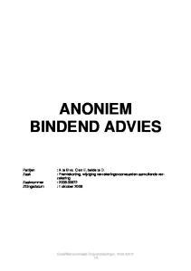 ANONIEM BINDEND ADVIES