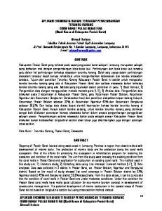 APLIKASI EKOWISATA BAHARI TERHADAP PERKEMBANGAN TERUMBU KARANG. DISISI BARAT PULAU SUMATERA (Studi Kasus di Kabupaten Pesisir Barat) Ahmad Herison