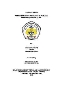 APLIKASI KREDIT PINJAMAN di PT.BANK MANDIRI (PERSERO) TBK
