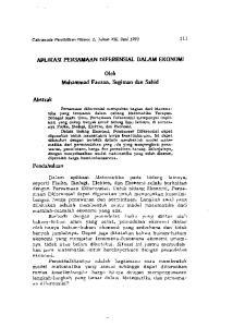 APLIKASI PERSAMAAN D1FERENSIAL DALAM EKONOMI. Oleh. Muhammad Fauzan, Sugiman dan Sahid