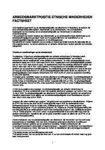 ARBEIDSMARKTPOSITIE ETNISCHE MINDERHEDEN FACTSHEET