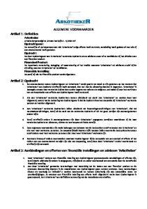 Artikel 3: Aanbiedingen en offertes van Financiële Instellingen en adviezen Arkotheker