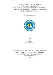 ARTIKEL E-JOURNAL. Oleh. Mashuri NIM