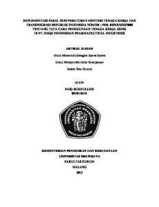 ARTIKEL ILMIAH. Untuk Memenuhi Sebagian Syarat-Syarat. Untuk Memperoleh Gelar Kesarjanaan. Dalam Ilmu Hukum OLEH: FAIQ RUKHULLOH