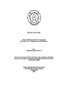 ARTIKEL PENELITIAN. TANAH SENDE DAN KONFLIK AGRARIA (Studi Kasus di D.I.Yogyakarta Tahun an) Oleh: TIWUK KUSUMA HASTUTI