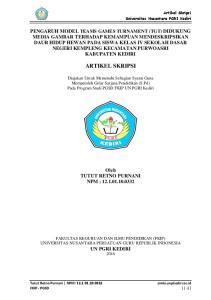 ARTIKEL SKRIPSI. Diajukan Untuk Memenuhi Sebagian Syarat Guna Memperoleh Gelar Sarjana Pendidikan (S.Pd) Pada Program Studi PGSD FKIP UN PGRI Kediri