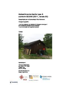 Asbestinventarisatie type A conform SC-540 (2011, versie 02)