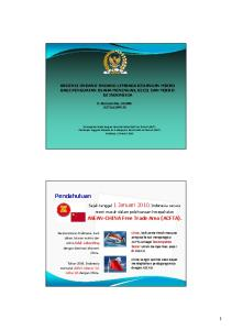 ASEAN-CHINA Free Trade Area (ACFTA)