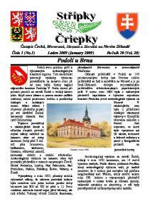 Časopis Čechů, Moravanů, Slezanů a Slováků na Novém Zélandě Číslo 1 (No.1) Leden 2009 (January 2009) Ročník 20 (Vol