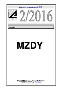 Časopis pro uživatele programů ZEIS OBSAH MZDY