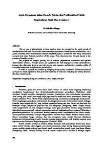 Aspek Perpajakan dalam Transfer Pricing dan Problematika Praktik. Penghindaran Pajak (Tax Avoidance)