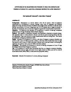 ATTITUDES OF KLIMAKTERIUM S WOMEN IN DEALING MENOPAUSE PERIOD AT JIMUS VILLAGE POLANHARJO DISTRICT KLATEN REGENCY