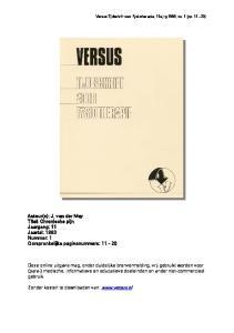 Auteur(s): J. van der Mey Titel: Chronische pijn Jaargang: 11 Jaartal: 1993 Nummer: 1 Oorspronkelijke paginanummers: 11-20