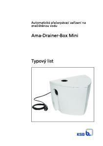 Automatické přečerpávací zařízení na znečištěnou vodu. Ama-Drainer-Box Mini. Typový list