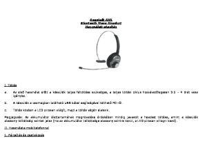 Avantalk AH5 Bluetooth Mono Headset Használati utasítás