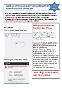Avast antivirus en Winver voor windows Avast verwijderd omrek.exe