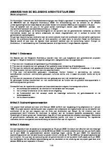 AWARDS VAN DE BELGISCHE ARCHITECTUUR 2003 Wedstrijdreglement