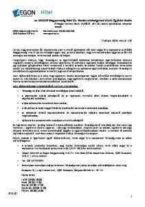 az AEGON Magyarország Hitel Zrt. fizetési nehézségekkel küzdő Ügyfelei részére