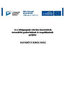 Az e-közigazgatás releváns ismereteinek, nemzetközi gyakorlatának és megoldásainak győjtése EGYESÜLT KIRÁLYSÁG