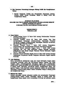 B. Biro Peraturan Perundang-Undangan Bidang Politik dan Kesejahteraan Rakyat
