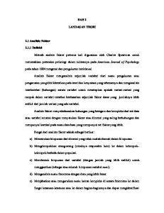 BAB 2 LANDAS AN TEORI. memecahkan persoalan psikologi dalam tulisannya pada American Journal of Psychology