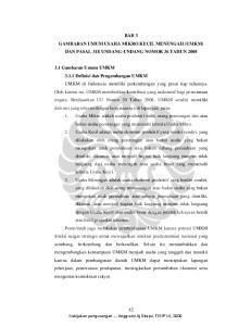 BAB 3 GAMBARAN UMUM USAHA MIKRO KECIL MENENGAH (UMKM) DAN PASAL 31E UNDANG-UNDANG NOMOR 36 TAHUN 2008