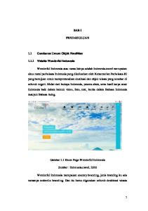 BAB I PENDAHULUAN. 1.1 Gambaran Umum Objek Penelitian Website Wonderful Indonesia