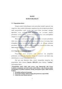 BAB II BAHAN RUJUKAN. 2.1 Pengendalian Intern