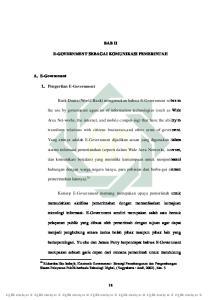 BAB II E-GOVERNMENT SEBAGAI KOMUNIKASI PEMERINTAH