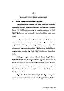 BAB II GAMBARAN UMUM OBJEK LOKASI PKLM. A. Sejarah Singkat Dinas Pendapatan Kota Medan