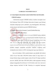 BAB II GAMBARAN UMUM PERUSAHAAN. 2.1 Uraian Singkat Laboratorium Lantai 6 Institut Bisnis dan Informatika